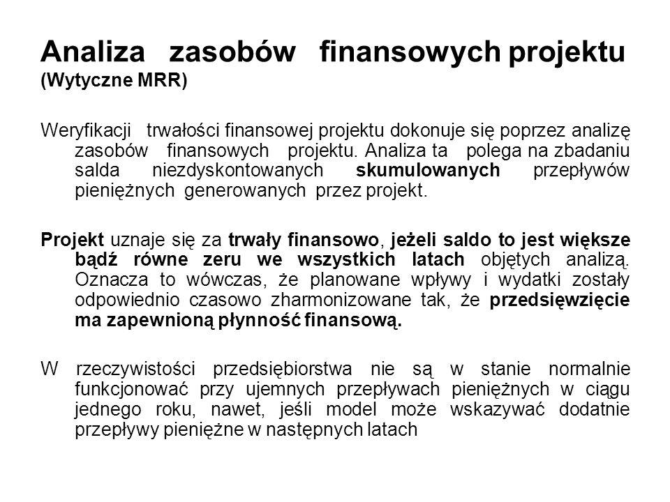 Analiza zasobów finansowych projektu (Wytyczne MRR) Weryfikacji trwałości finansowej projektu dokonuje się poprzez analizę zasobów finansowych projekt