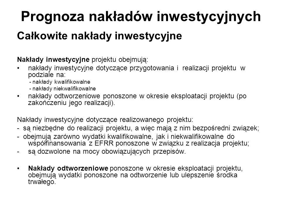 Prognoza nakładów inwestycyjnych Całkowite nakłady inwestycyjne Nakłady inwestycyjne projektu obejmują: nakłady inwestycyjne dotyczące przygotowania i
