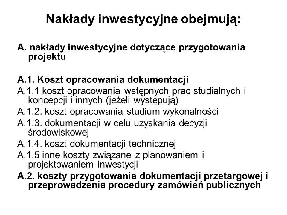 Nakłady inwestycyjne obejmują: A. nakłady inwestycyjne dotyczące przygotowania projektu A.1. Koszt opracowania dokumentacji A.1.1 koszt opracowania ws