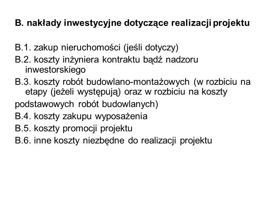 B. nakłady inwestycyjne dotyczące realizacji projektu B.1. zakup nieruchomości (jeśli dotyczy) B.2. koszty inżyniera kontraktu bądź nadzoru inwestorsk