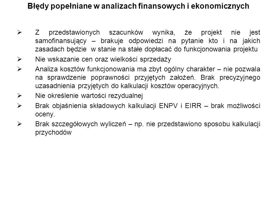 Błędy popełniane w analizach finansowych i ekonomicznych Z przedstawionych szacunków wynika, że projekt nie jest samofinansujący – brakuje odpowiedzi