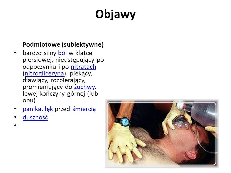 Objawy Podmiotowe (subiektywne) bardzo silny ból w klatce piersiowej, nieustępujący po odpoczynku i po nitratach (nitrogliceryna), piekący, dławiący,