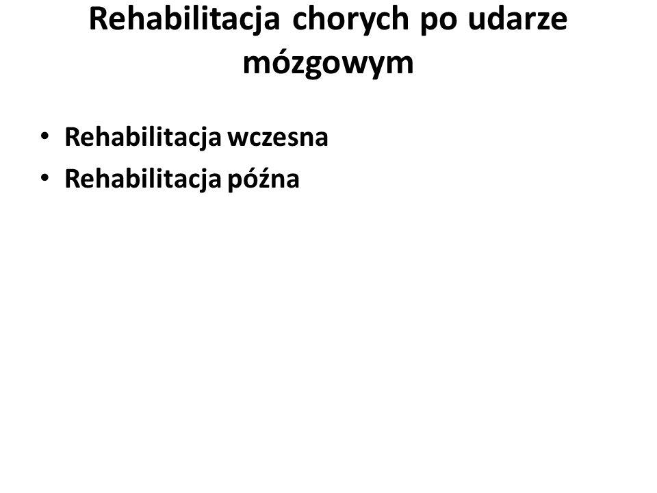 Rehabilitacja chorych po udarze mózgowym Rehabilitacja wczesna Rehabilitacja późna