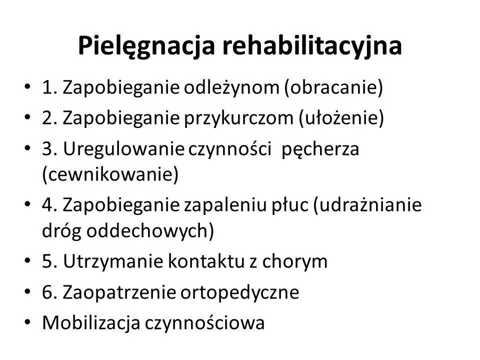 Pielęgnacja rehabilitacyjna 1. Zapobieganie odleżynom (obracanie) 2. Zapobieganie przykurczom (ułożenie) 3. Uregulowanie czynności pęcherza (cewnikowa