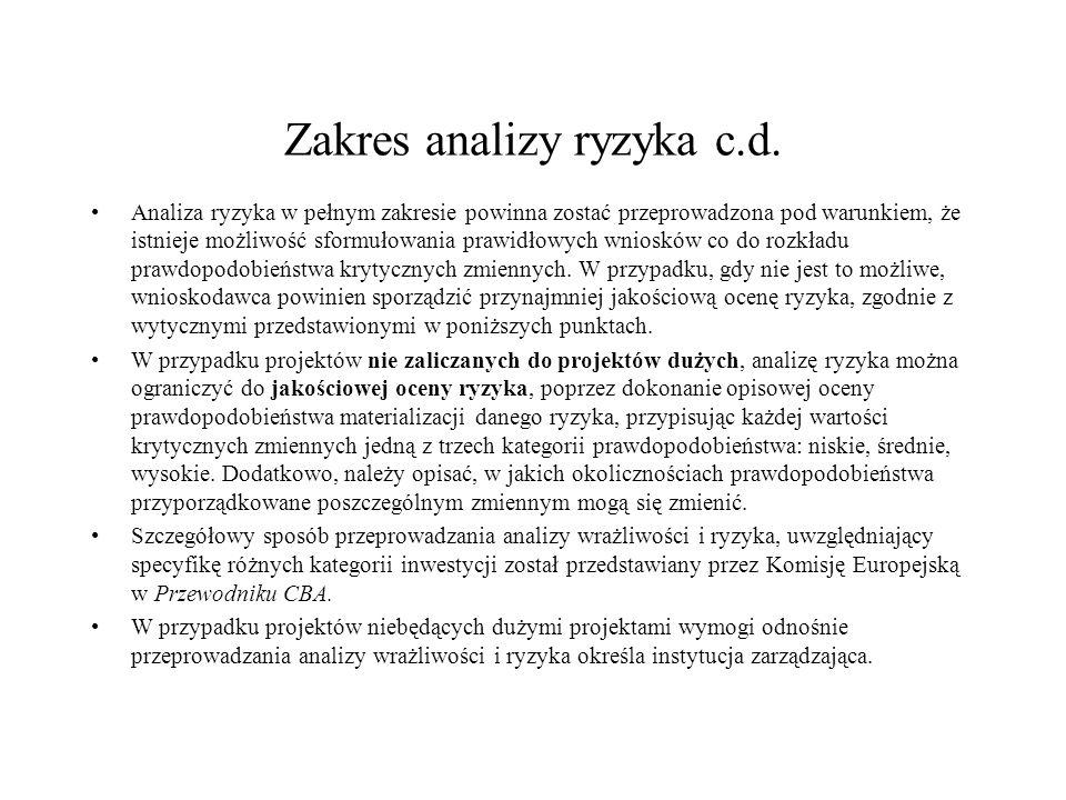 Zakres analizy ryzyka c.d. Analiza ryzyka w pełnym zakresie powinna zostać przeprowadzona pod warunkiem, że istnieje możliwość sformułowania prawidłow