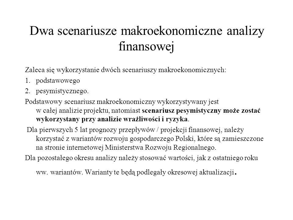 Dwa scenariusze makroekonomiczne analizy finansowej Zaleca się wykorzystanie dwóch scenariuszy makroekonomicznych: 1.podstawowego 2.pesymistycznego. P
