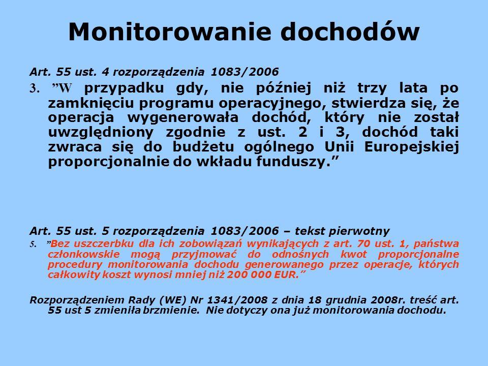Monitorowanie dochodów Art. 55 ust. 4 rozporządzenia 1083/2006 3. W przypadku gdy, nie później niż trzy lata po zamknięciu programu operacyjnego, stwi