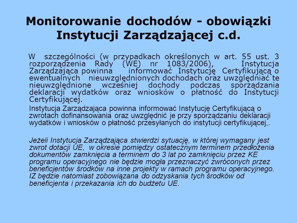 Monitorowanie dochodów - obowiązki Instytucji Zarządzającej c.d. W szczególności (w przypadkach określonych w art. 55 ust. 3 rozporządzenia Rady (WE)