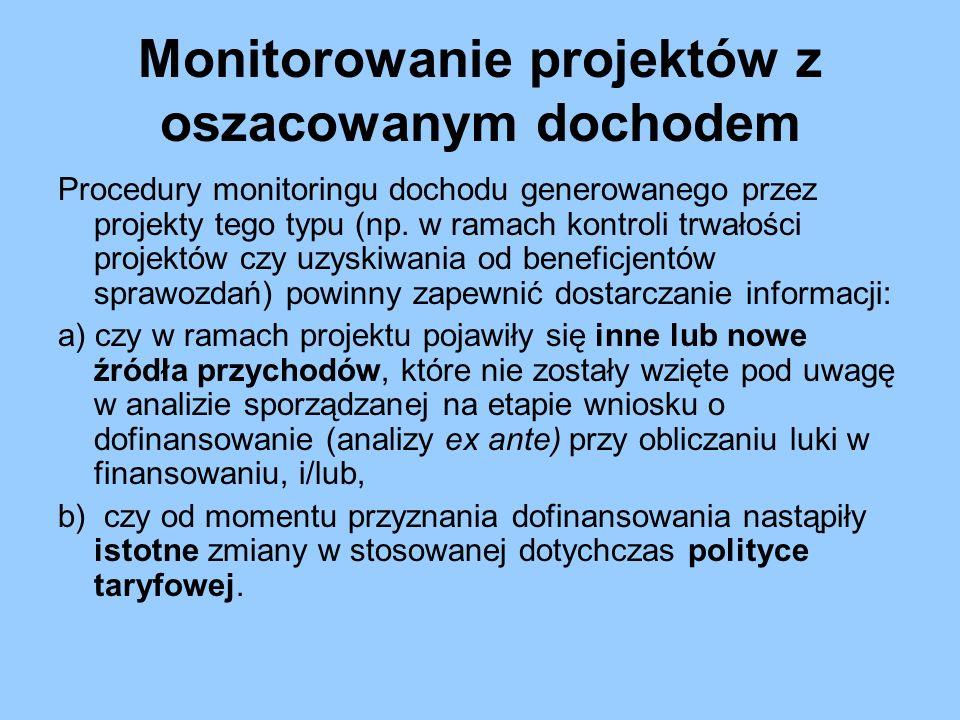 Monitorowanie projektów z oszacowanym dochodem Procedury monitoringu dochodu generowanego przez projekty tego typu (np. w ramach kontroli trwałości pr
