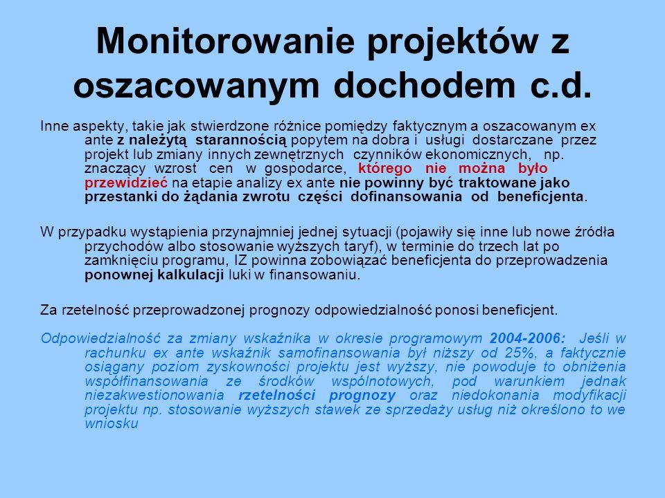 Monitorowanie projektów z oszacowanym dochodem c.d. Inne aspekty, takie jak stwierdzone różnice pomiędzy faktycznym a oszacowanym ex ante z należytą s