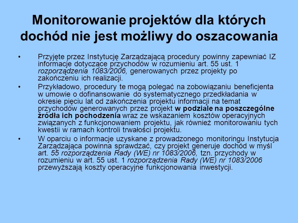 Monitorowanie projektów dla których dochód nie jest możliwy do oszacowania Przyjęte przez Instytucję Zarządzającą procedury powinny zapewniać IZ infor
