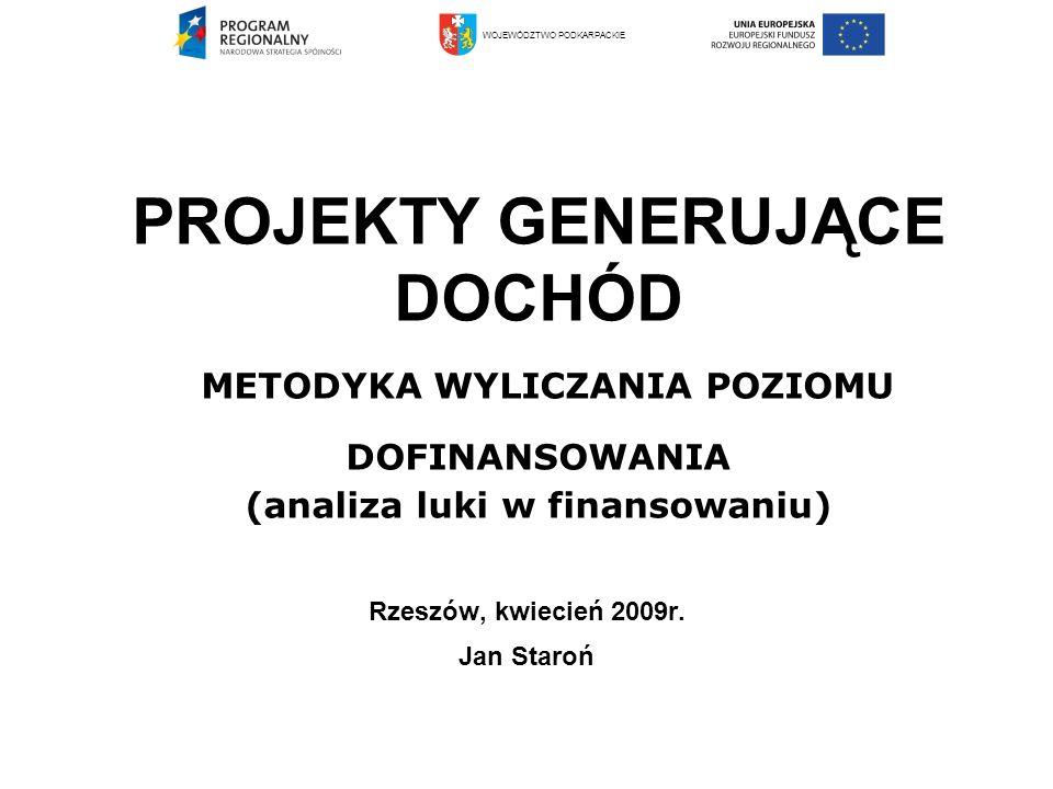 METODYKA WYLICZENIA POZIOMU DOFINANSOWANIA PROJEKTÓW GENERUJĄCYCH DOCHÓD Dokumenty metodologiczne 1.