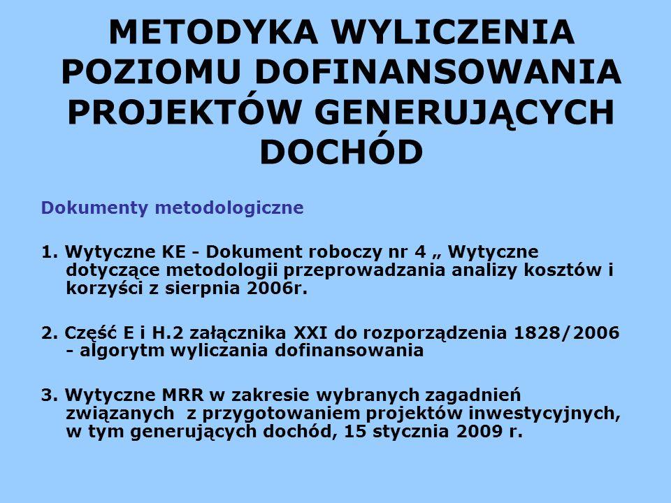 METODYKA WYLICZENIA POZIOMU DOFINANSOWANIA PROJEKTÓW GENERUJĄCYCH DOCHÓD Dokumenty metodologiczne 1. Wytyczne KE - Dokument roboczy nr 4 Wytyczne doty