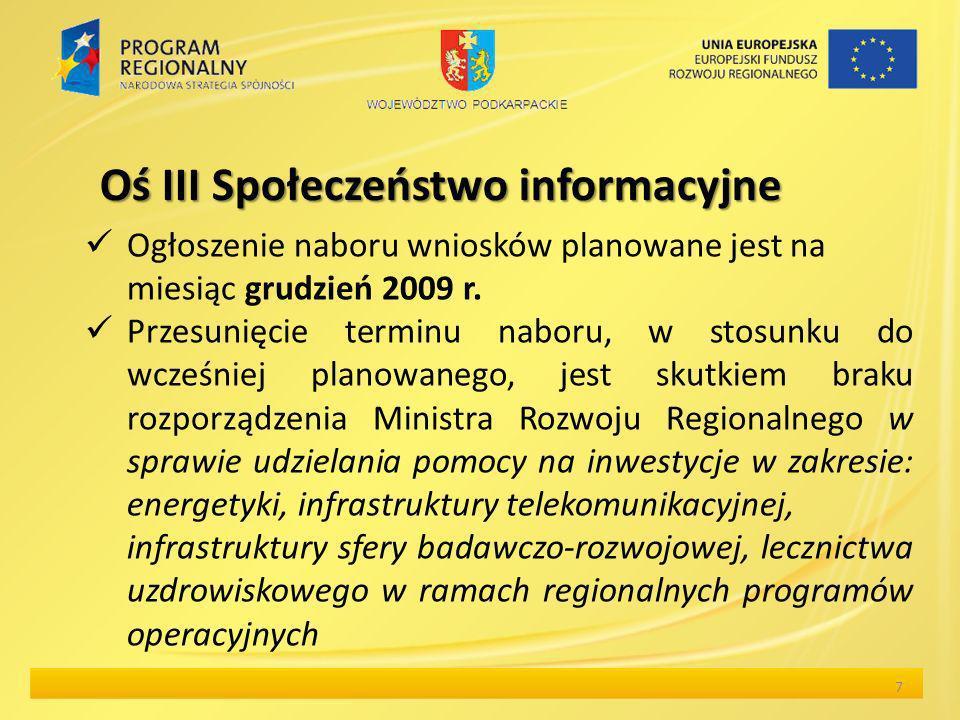 Oś III Społeczeństwo informacyjne Ogłoszenie naboru wniosków planowane jest na miesiąc grudzień 2009 r. Przesunięcie terminu naboru, w stosunku do wcz