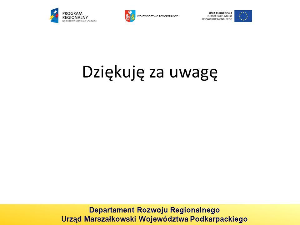 Dziękuję za uwagę Departament Rozwoju Regionalnego Urząd Marszałkowski Województwa Podkarpackiego WOJEWÓDZTWO PODKARPACKIE