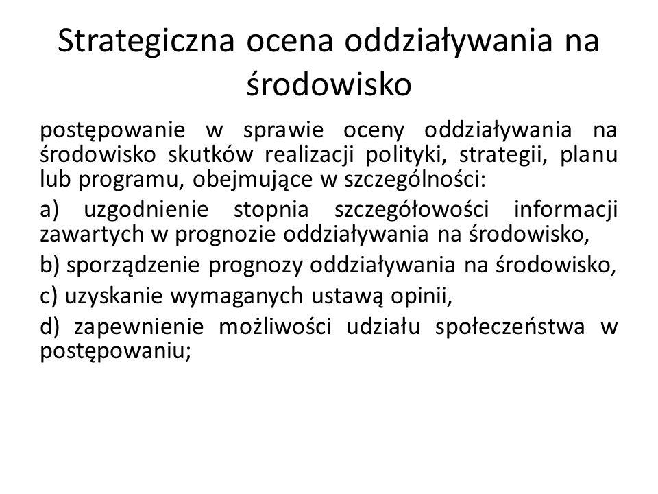 Strategiczna ocena oddziaływania na środowisko postępowanie w sprawie oceny oddziaływania na środowisko skutków realizacji polityki, strategii, planu