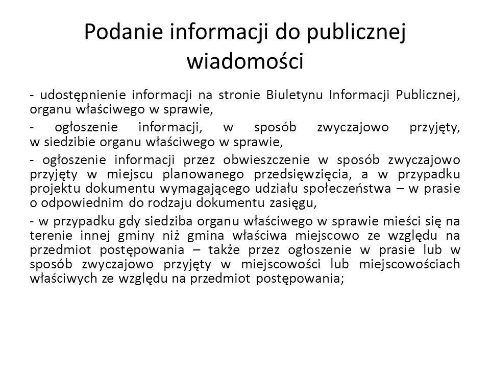 Podanie informacji do publicznej wiadomości - udostępnienie informacji na stronie Biuletynu Informacji Publicznej, organu właściwego w sprawie, - ogło