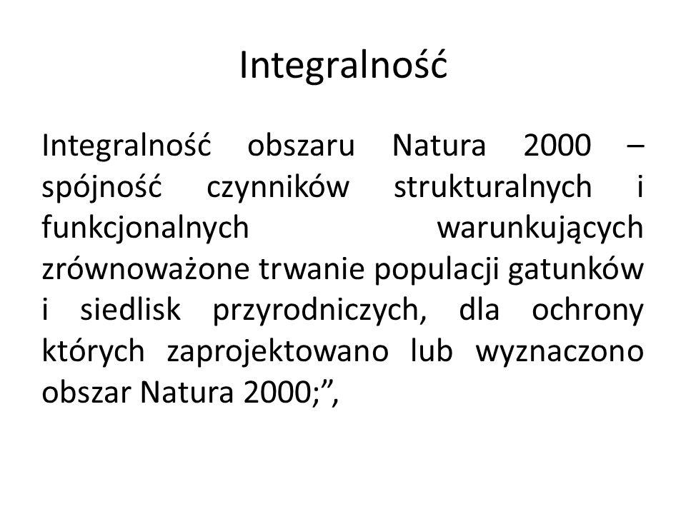 Integralność Integralność obszaru Natura 2000 – spójność czynników strukturalnych i funkcjonalnych warunkujących zrównoważone trwanie populacji gatunk