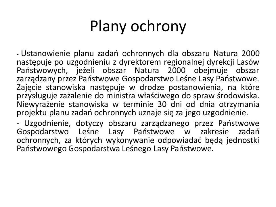 Plany ochrony - Ustanowienie planu zadań ochronnych dla obszaru Natura 2000 następuje po uzgodnieniu z dyrektorem regionalnej dyrekcji Lasów Państwowy