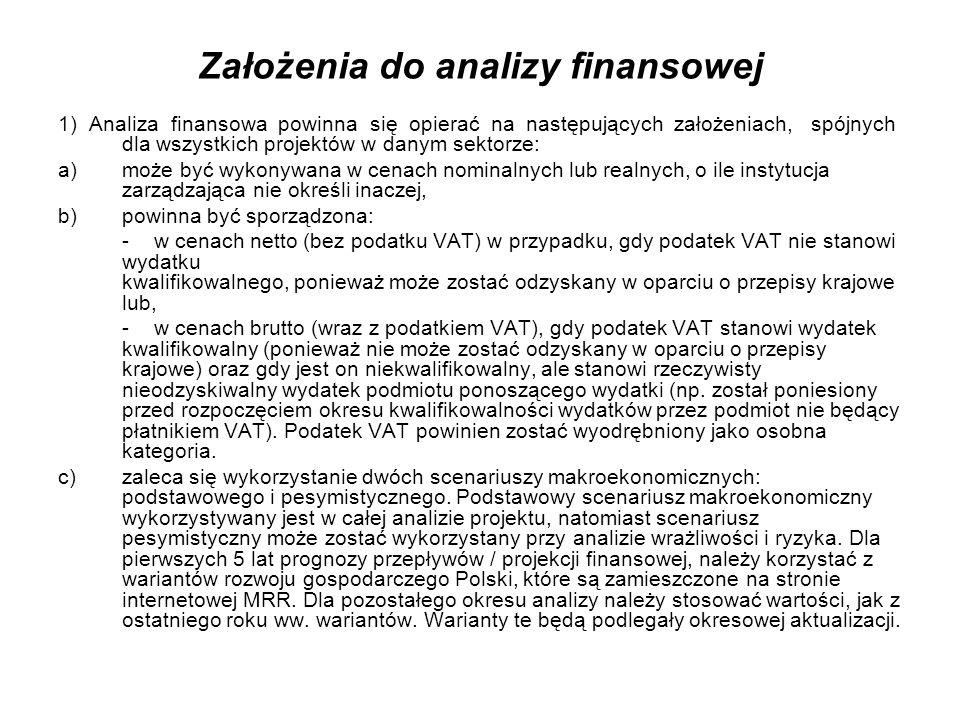 Założenia do analizy finansowej 1) Analiza finansowa powinna się opierać na następujących założeniach, spójnych dla wszystkich projektów w danym sekto
