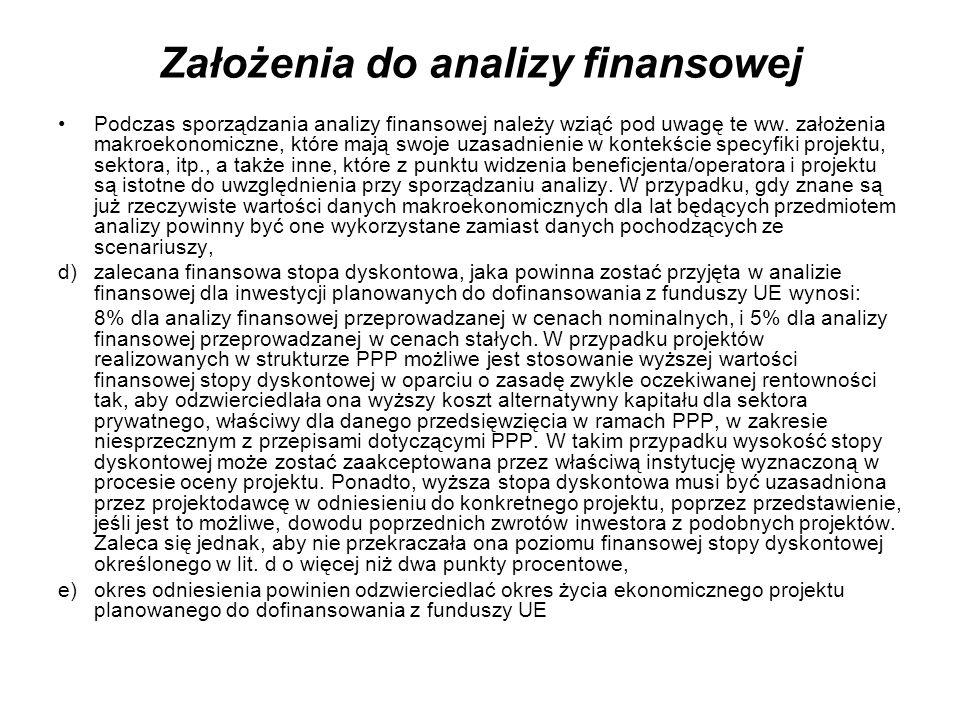 Założenia do analizy finansowej Podczas sporządzania analizy finansowej należy wziąć pod uwagę te ww. założenia makroekonomiczne, które mają swoje uza