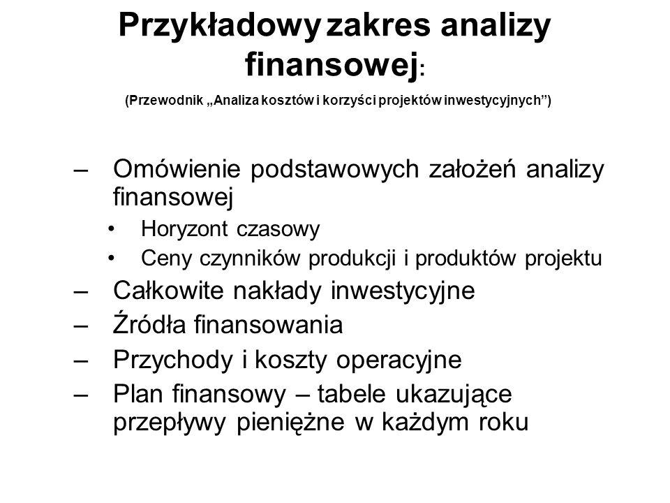 Przykładowy zakres analizy finansowej : (Przewodnik Analiza kosztów i korzyści projektów inwestycyjnych) –Omówienie podstawowych założeń analizy finan