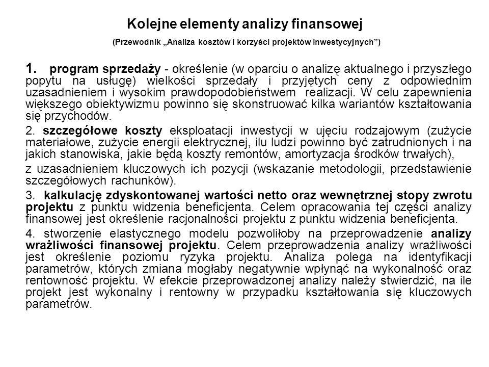 Kolejne elementy analizy finansowej (Przewodnik Analiza kosztów i korzyści projektów inwestycyjnych) 1. program sprzedaży - określenie (w oparciu o an