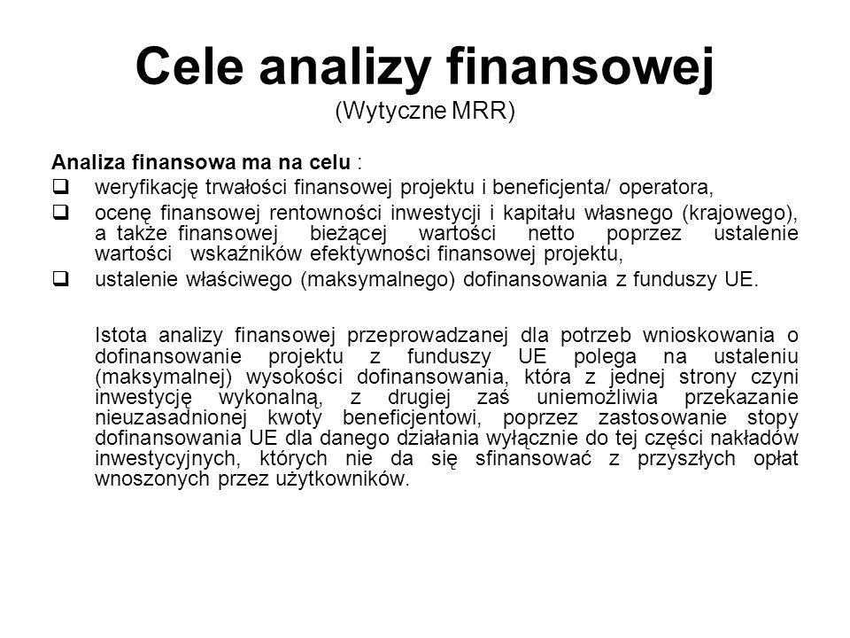 Cele analizy finansowej (Wytyczne MRR) Analiza finansowa ma na celu : weryfikację trwałości finansowej projektu i beneficjenta/ operatora, ocenę finan