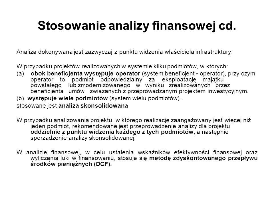 Stosowanie analizy finansowej cd. Analiza dokonywana jest zazwyczaj z punktu widzenia właściciela infrastruktury. W przypadku projektów realizowanych