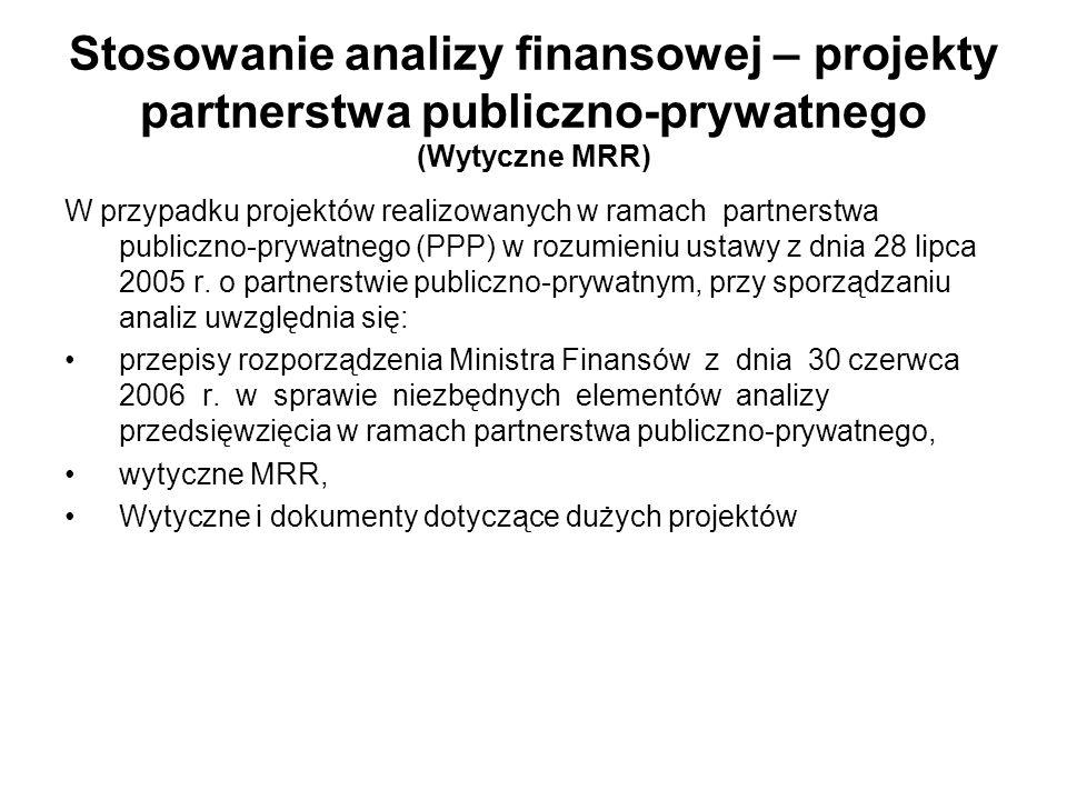 Stosowanie analizy finansowej – projekty partnerstwa publiczno-prywatnego (Wytyczne MRR) W przypadku projektów realizowanych w ramach partnerstwa publ