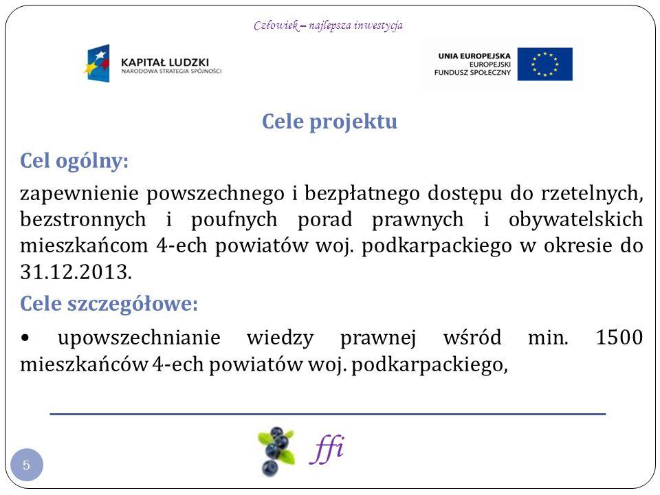 5 Cele projektu Cel ogólny: zapewnienie powszechnego i bezpłatnego dostępu do rzetelnych, bezstronnych i poufnych porad prawnych i obywatelskich mieszkańcom 4-ech powiatów woj.