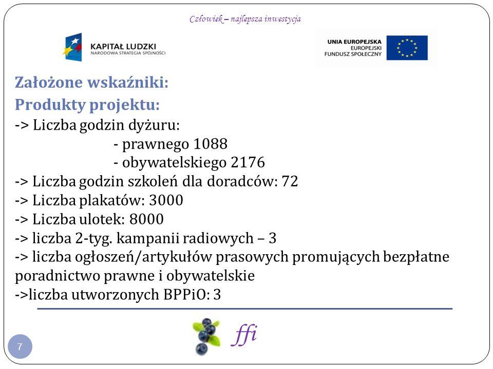 7 Założone wskaźniki: Produkty projektu: -> Liczba godzin dyżuru: - prawnego 1088 - obywatelskiego 2176 -> Liczba godzin szkoleń dla doradców: 72 -> Liczba plakatów: 3000 -> Liczba ulotek: 8000 -> liczba 2-tyg.