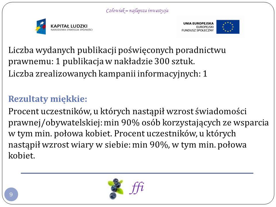 9 Liczba wydanych publikacji poświęconych poradnictwu prawnemu: 1 publikacja w nakładzie 300 sztuk.