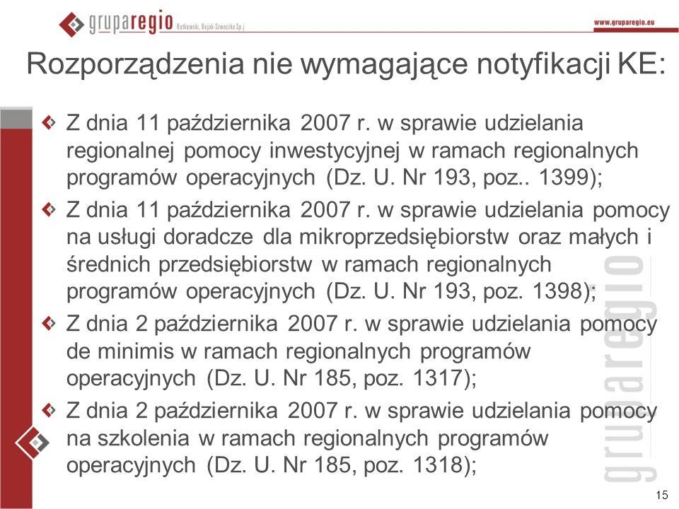 15 Rozporządzenia nie wymagające notyfikacji KE: Z dnia 11 października 2007 r. w sprawie udzielania regionalnej pomocy inwestycyjnej w ramach regiona
