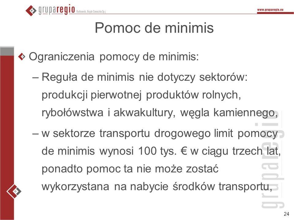 24 Pomoc de minimis Ograniczenia pomocy de minimis: –Reguła de minimis nie dotyczy sektorów: produkcji pierwotnej produktów rolnych, rybołówstwa i akw