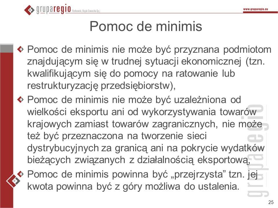 25 Pomoc de minimis Pomoc de minimis nie może być przyznana podmiotom znajdującym się w trudnej sytuacji ekonomicznej (tzn. kwalifikującym się do pomo