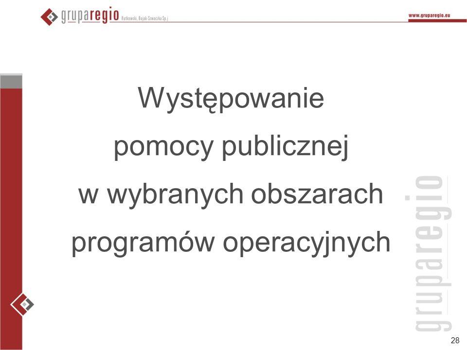 28 Występowanie pomocy publicznej w wybranych obszarach programów operacyjnych