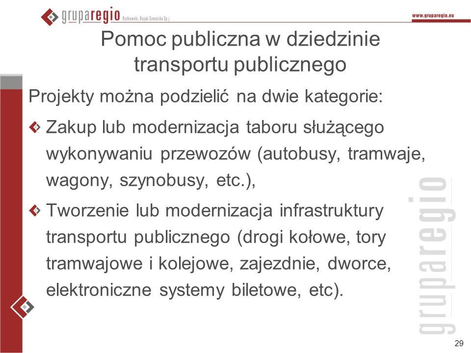 29 Pomoc publiczna w dziedzinie transportu publicznego Projekty można podzielić na dwie kategorie: Zakup lub modernizacja taboru służącego wykonywaniu
