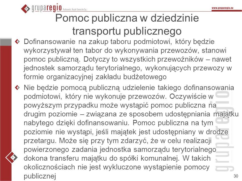 30 Pomoc publiczna w dziedzinie transportu publicznego Dofinansowanie na zakup taboru podmiotowi, który będzie wykorzystywał ten tabor do wykonywania