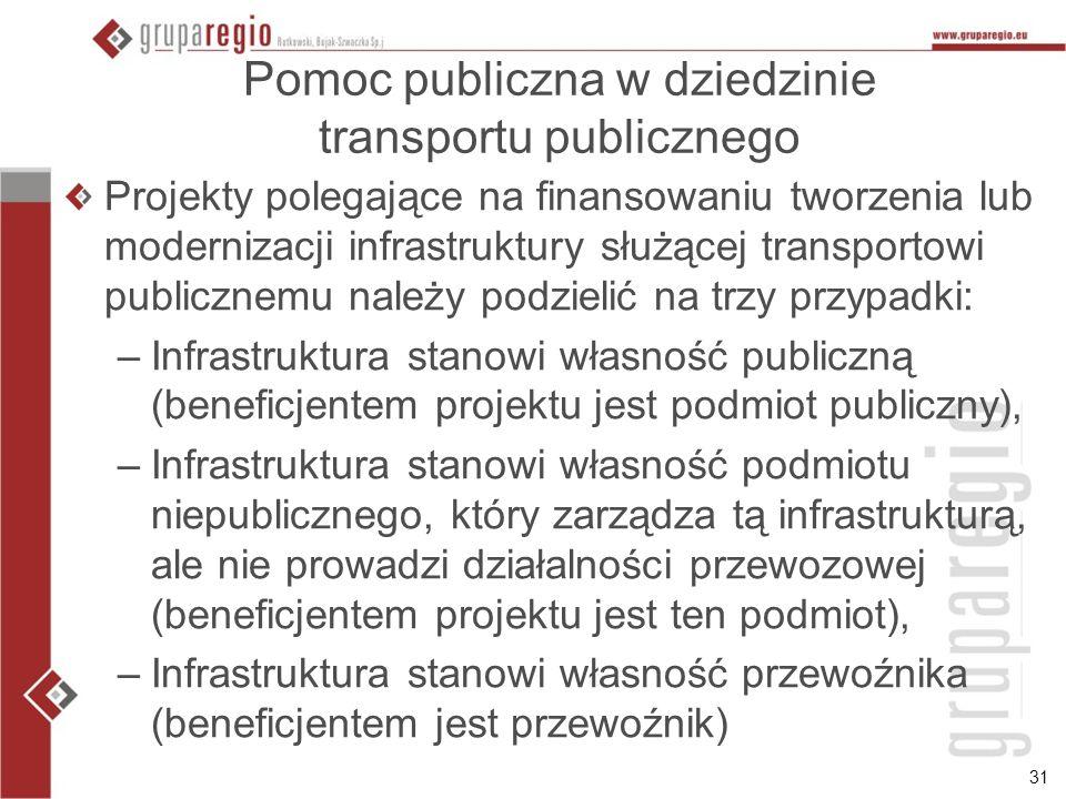 31 Pomoc publiczna w dziedzinie transportu publicznego Projekty polegające na finansowaniu tworzenia lub modernizacji infrastruktury służącej transpor