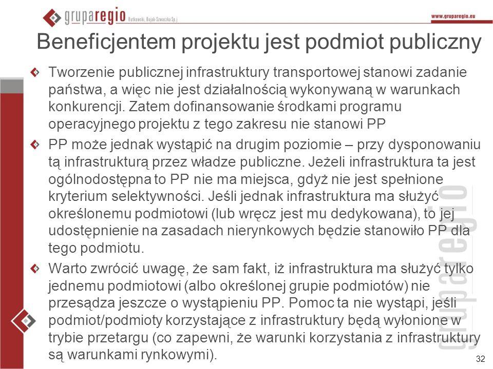 32 Beneficjentem projektu jest podmiot publiczny Tworzenie publicznej infrastruktury transportowej stanowi zadanie państwa, a więc nie jest działalnoś