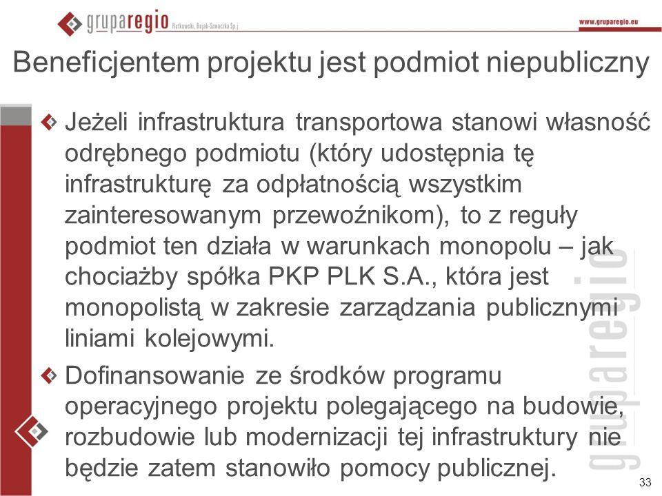 33 Beneficjentem projektu jest podmiot niepubliczny Jeżeli infrastruktura transportowa stanowi własność odrębnego podmiotu (który udostępnia tę infras