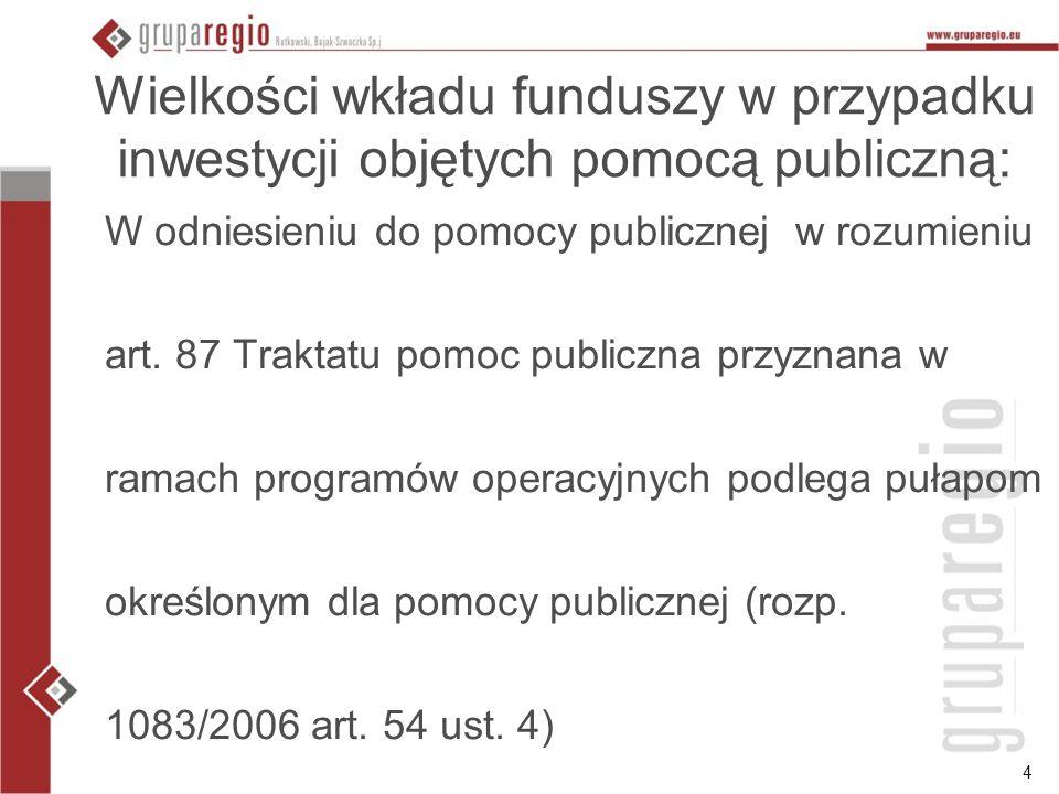 4 Wielkości wkładu funduszy w przypadku inwestycji objętych pomocą publiczną: W odniesieniu do pomocy publicznej w rozumieniu art. 87 Traktatu pomoc p