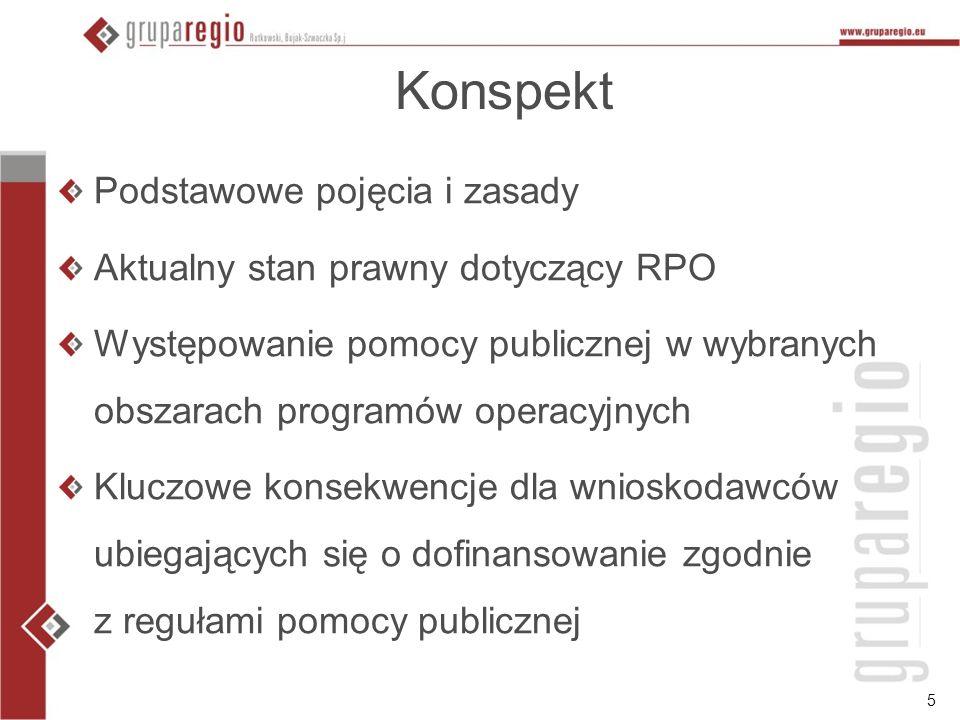 5 Konspekt Podstawowe pojęcia i zasady Aktualny stan prawny dotyczący RPO Występowanie pomocy publicznej w wybranych obszarach programów operacyjnych