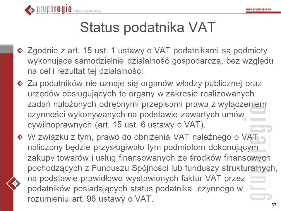 57 Status podatnika VAT Zgodnie z art. 15 ust. 1 ustawy o VAT podatnikami są podmioty wykonujące samodzielnie działalność gospodarczą, bez względu na
