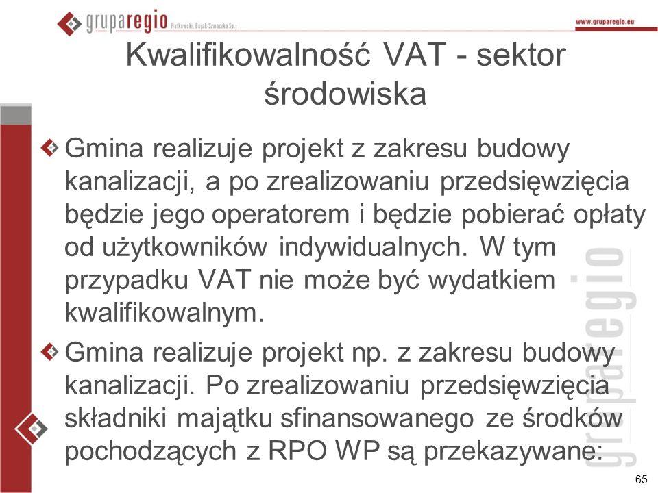 65 Kwalifikowalność VAT - sektor środowiska Gmina realizuje projekt z zakresu budowy kanalizacji, a po zrealizowaniu przedsięwzięcia będzie jego opera