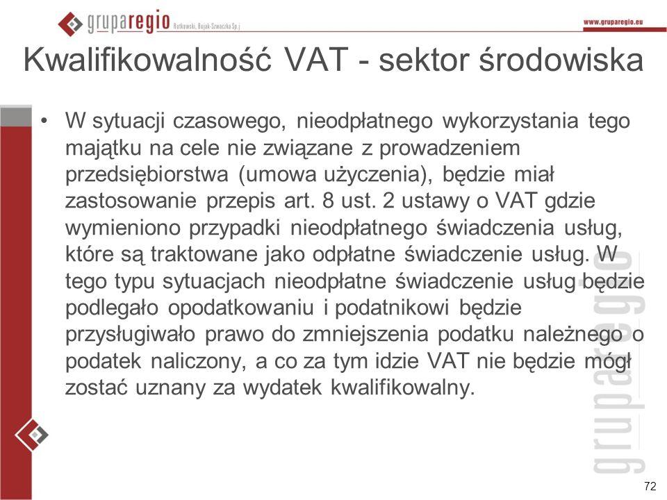 72 Kwalifikowalność VAT - sektor środowiska W sytuacji czasowego, nieodpłatnego wykorzystania tego majątku na cele nie związane z prowadzeniem przedsi