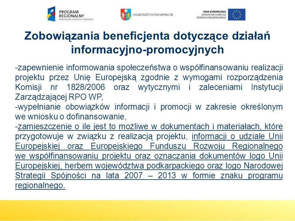 -zapewnienie informowania społeczeństwa o współfinansowaniu realizacji projektu przez Unię Europejską zgodnie z wymogami rozporządzenia Komisji nr 182