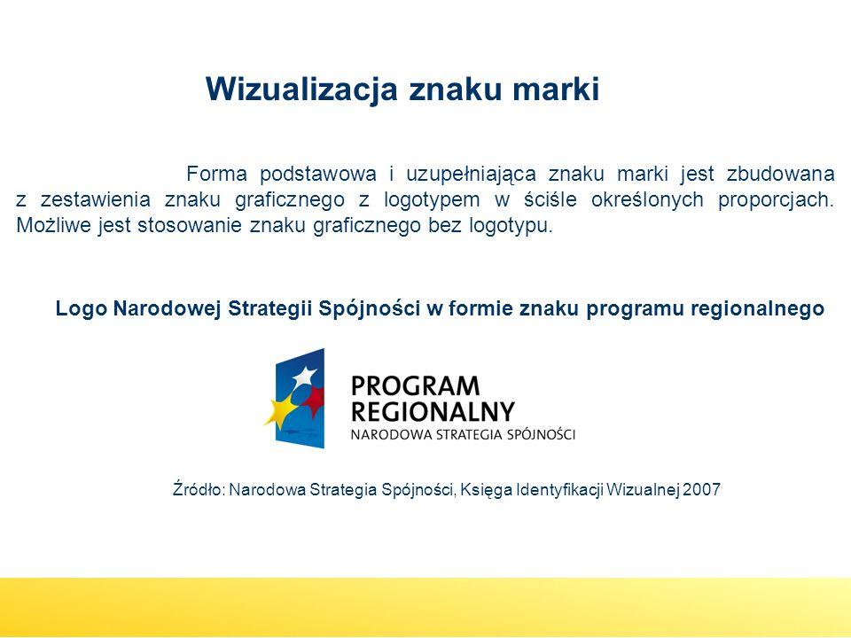 Logo Narodowej Strategii Spójności w formie znaku programu regionalnego Źródło: Narodowa Strategia Spójności, Księga Identyfikacji Wizualnej 2007 Form
