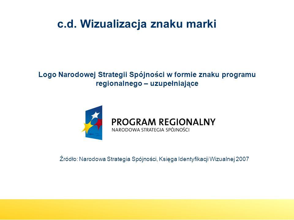 Logo Narodowej Strategii Spójności w formie znaku programu regionalnego – uzupełniające Źródło: Narodowa Strategia Spójności, Księga Identyfikacji Wiz
